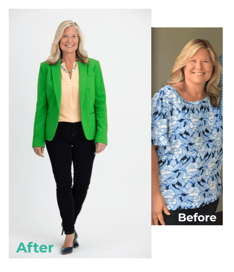 Julie before and after
