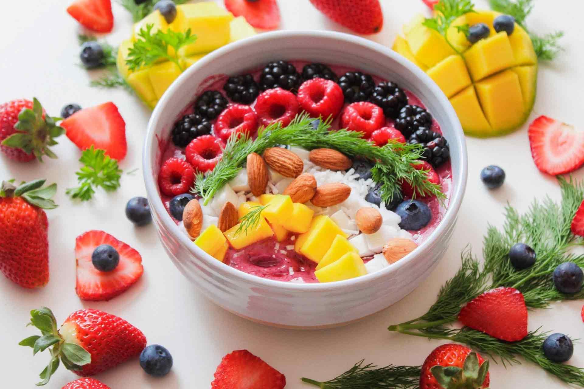 acai bowl and fruit