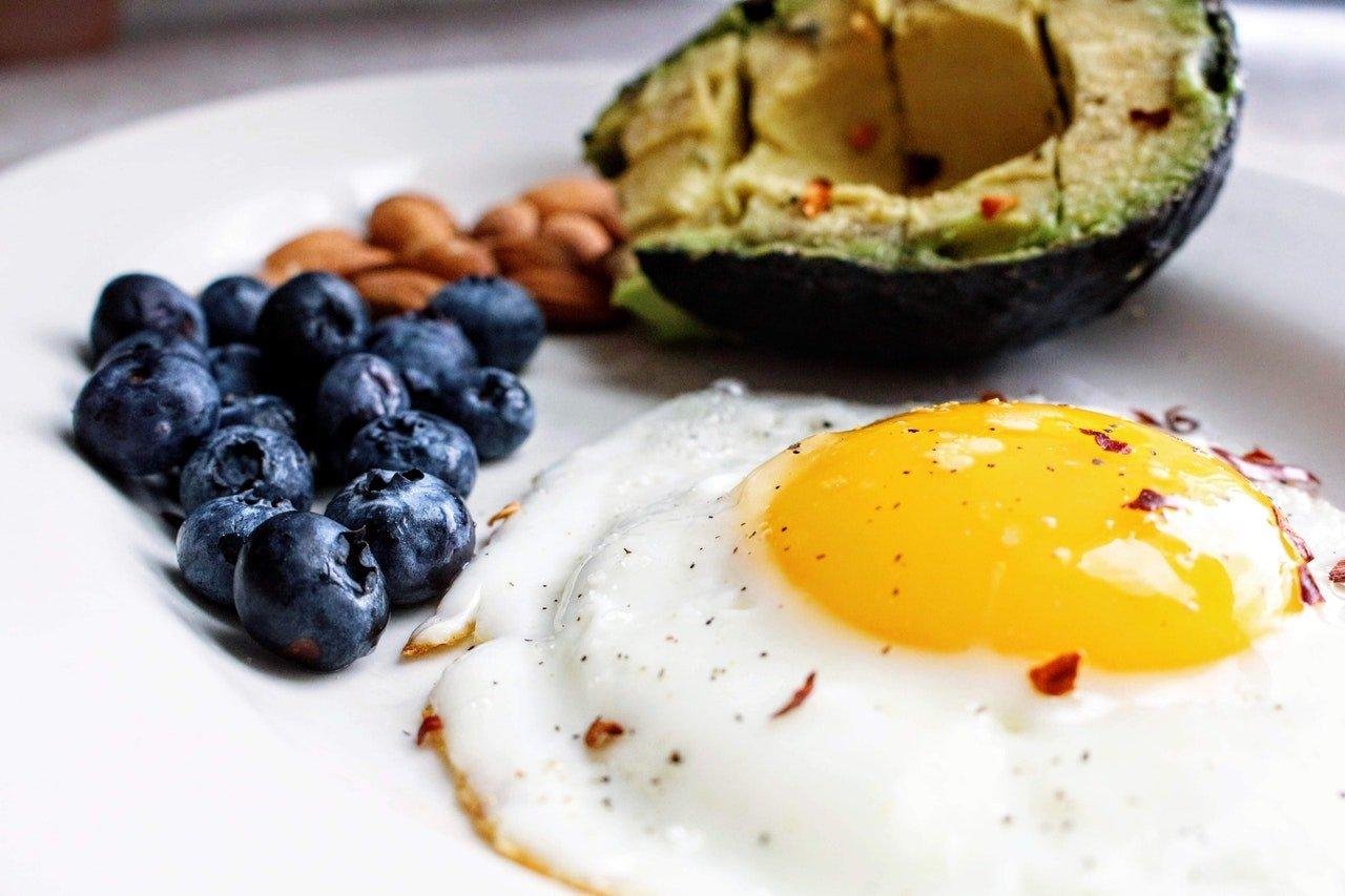 Keto breakfast with eggs and avocado